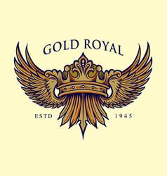 golden royal crown elegant logo vector image