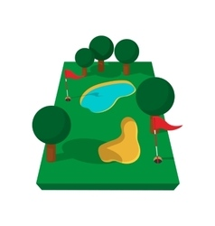 Golf course cartoon icon vector image