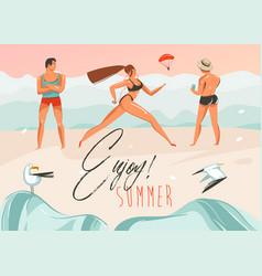 Hand drawn abstract cartoon summer time vector