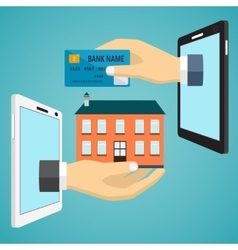Hand with credit card and hand with house vector image