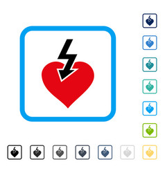 Heart shock strike framed icon vector