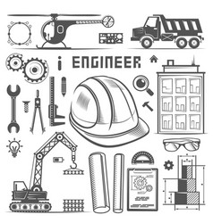 Icons engineer drawing style vector