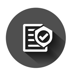 Insurance policy icon in flat style report on vector