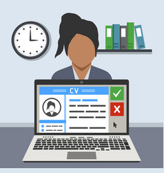 Job interview concept curriculum vitae on screen vector
