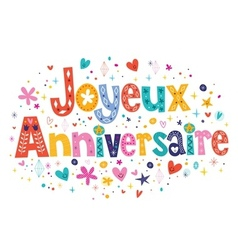 Joyeux Anniversaire Happy Birthday in French vector