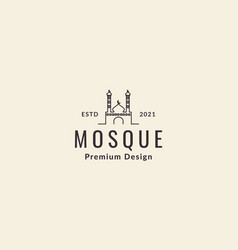 Lines vintage dome mosque with tower logo icon vector