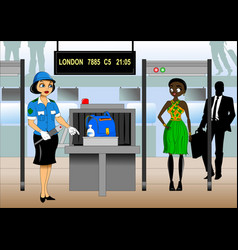 luggage inspection vector image