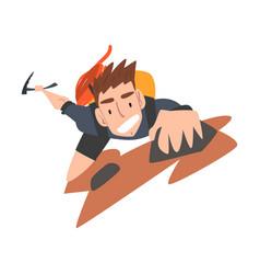 Man climbing on rock mountain extreme hobor vector