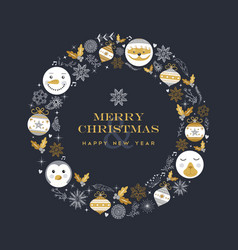 merry christmas and new year cute vintage frame vector image