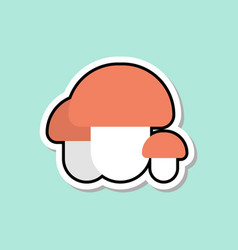 Mushroom sticker on blue background colorful vector