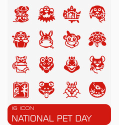 National pet day icon set vector