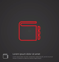 Notepad outline symbol red on dark background logo vector