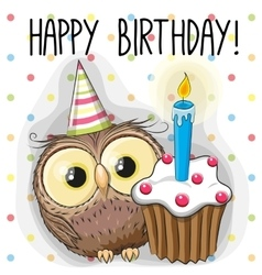 Owl with cake vector