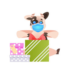 ox holding gifts cute cow wearing mask to prevent vector image