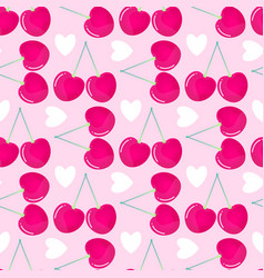 pattern witn cherries and hearts vector image