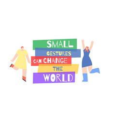 Poster woman motivation appeal slogan change world vector