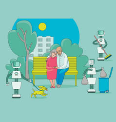Robots free people from routine do house work vector