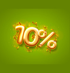 Sale 10 off ballon number on green background vector