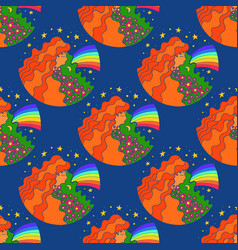 seamless pattern with the hippie girl and rainbow vector image
