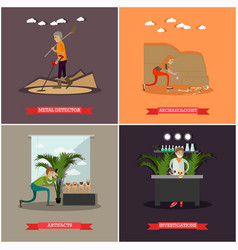 Set archaeology concept posters in flat vector