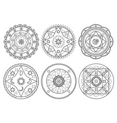 set of arabic mandala on white background vector image