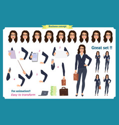 set of businesswoman character vector image