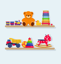 Set of different kids toys on wooden shelves vector