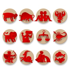 Set of red zodiacal signs vector