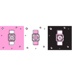 Set smartwatch setting icon isolated on pink and vector