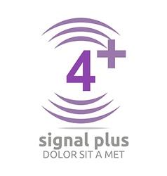 Signal number 4 plus purple figure wireless vector
