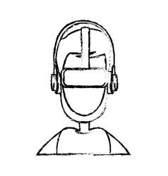 Sketch man wear vr goggles image vector