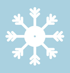 snowflake icon white on blue background vector image