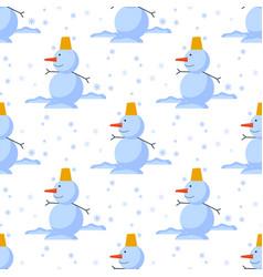 snowman cold christmas season winter seamless vector image