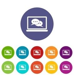Speech bubbles on laptop screen set icons vector image