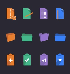 Stylish folders and documents icons vector image