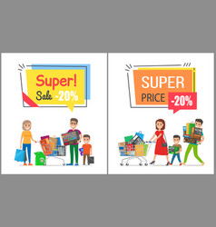 Super sale with nice price promotional posters vector