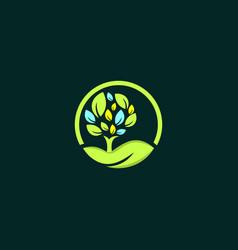 tree oak circle naturally business logo vector image