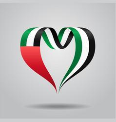 united arab emirates flag heart-shaped ribbon vector image