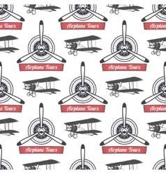 Vintage airplane tour pattern Biplane propellers vector