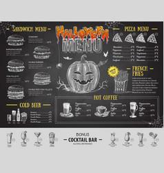 Vintage chalk drawing halloween menu design vector
