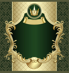 vintage gold banner with a crown on dark green vector image vector image