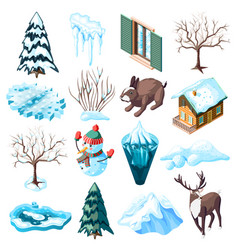 Winter landscaping isometric icons vector