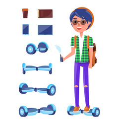 Young teenager with scooter hoverboard set vector