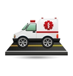 ambulance transportation on road vector image vector image