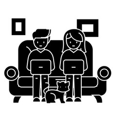family at sofa working on laptops with cat icon vector image