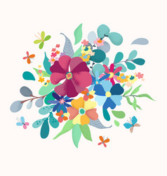floral bouquet with simple color flowers vector image vector image