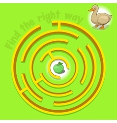 Game labyrinth find a way duck vector image