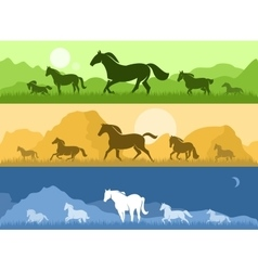 Landscapes with horses vector image