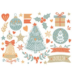 Sketchy Christmas elements set vector image vector image