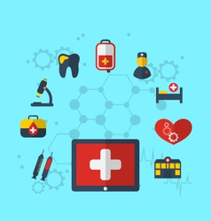 tablet pc with medical icons for web design modern vector image